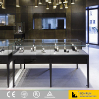Glass jewelry display and showroom display counter for jewellery showroom designs