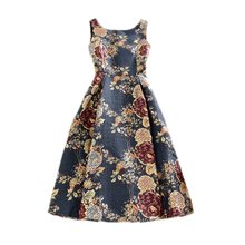 Spring Autumn Winter Elegant Vintage Jacquard Flower Embroidery Pleated Dress Vest Sleeveless A-line Tank Knee-Length Dresses