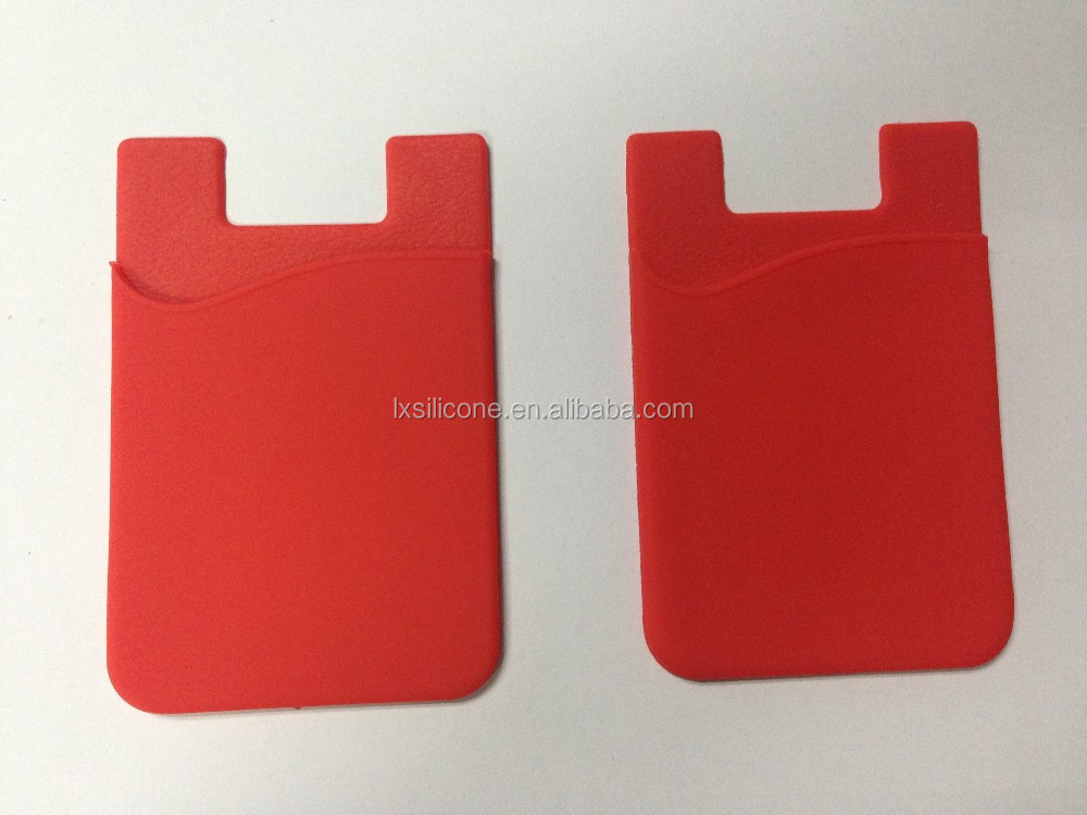 HOT! Top quality innovative custom silicone 3M adhensive backed card holder/ mobile phone pouch