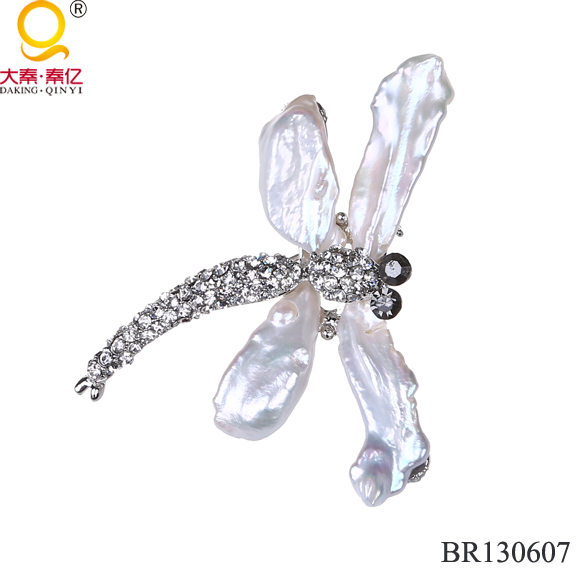 NEW design natural freshwater pearl dragon fly shape brooch