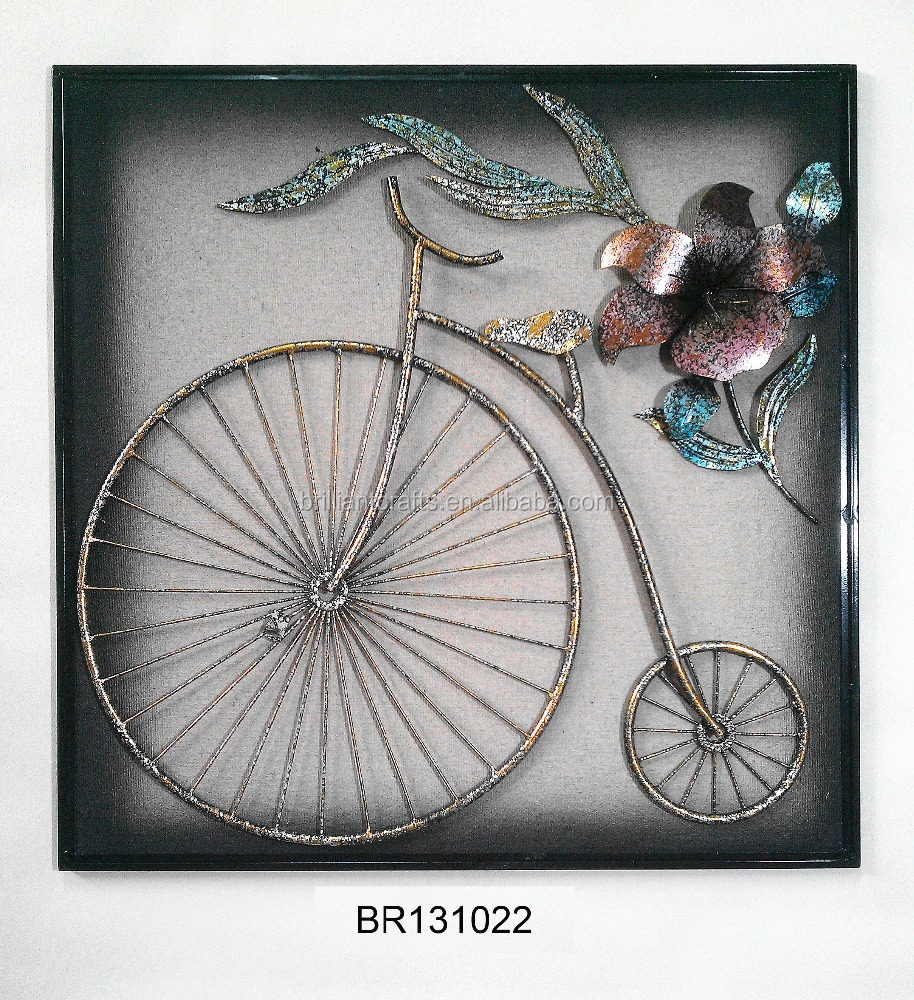 Indian Decorative Wrought Iron Bicycle with Wall Art, Shabby Chic Metal Bicycle Wall Decor