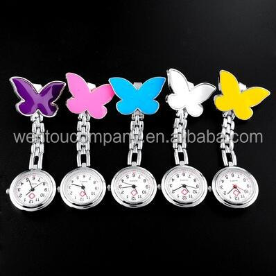 Wholesale New Arrival Cute Pendant Butterfly Clip-on Brooch Quartz Hanging Nurse Pocket Watch