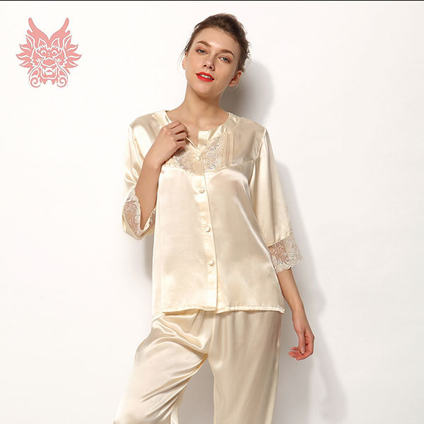 fcb9a36bd8 Get Quotations · Free shipping pure 100%silk nightgown pajama sets with  lace patchwork women sleepwear for summer