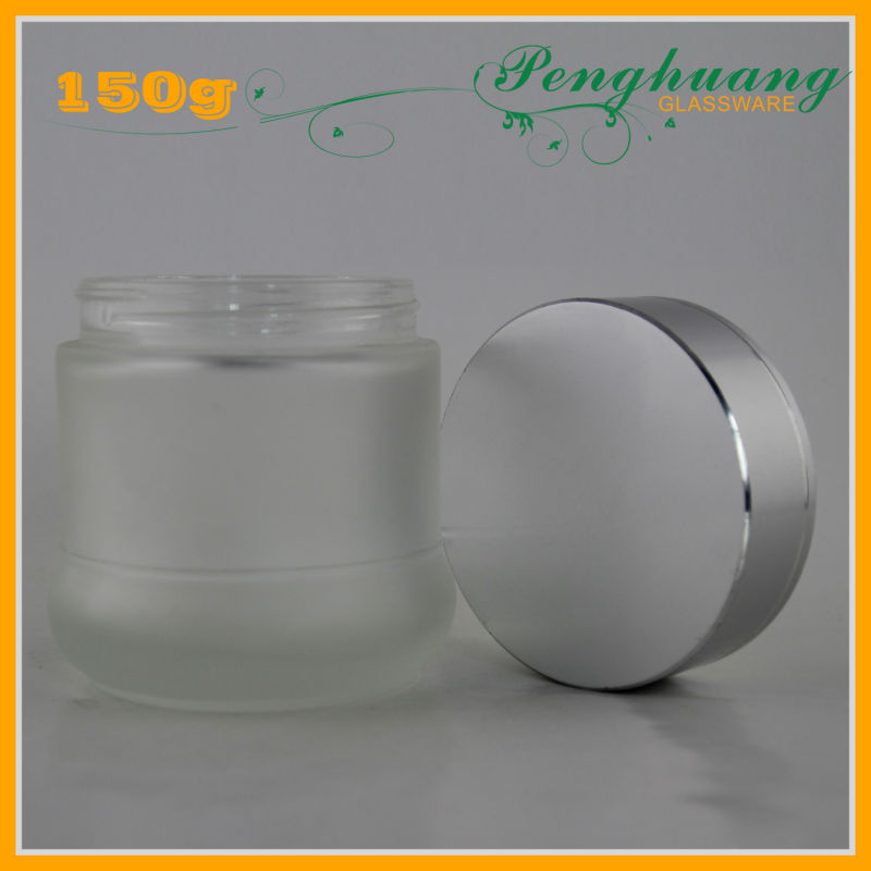 big volume round frosted makeup glass jar with silver lids
