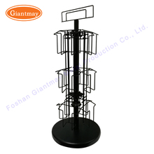 Table top spinning metal customized rotating chrismas gift card post card wire display stand greeting card