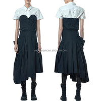 OEM Unique Asymmetric Stretch poplin dress shirts japan style dress japanese kimono style dress