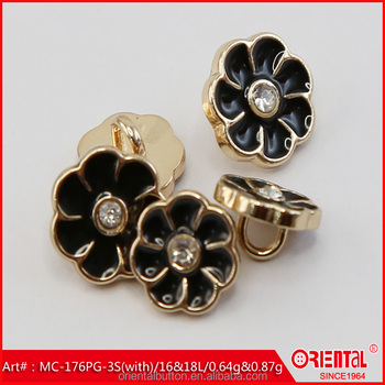 black enamel gold base flower shaped metal shank button