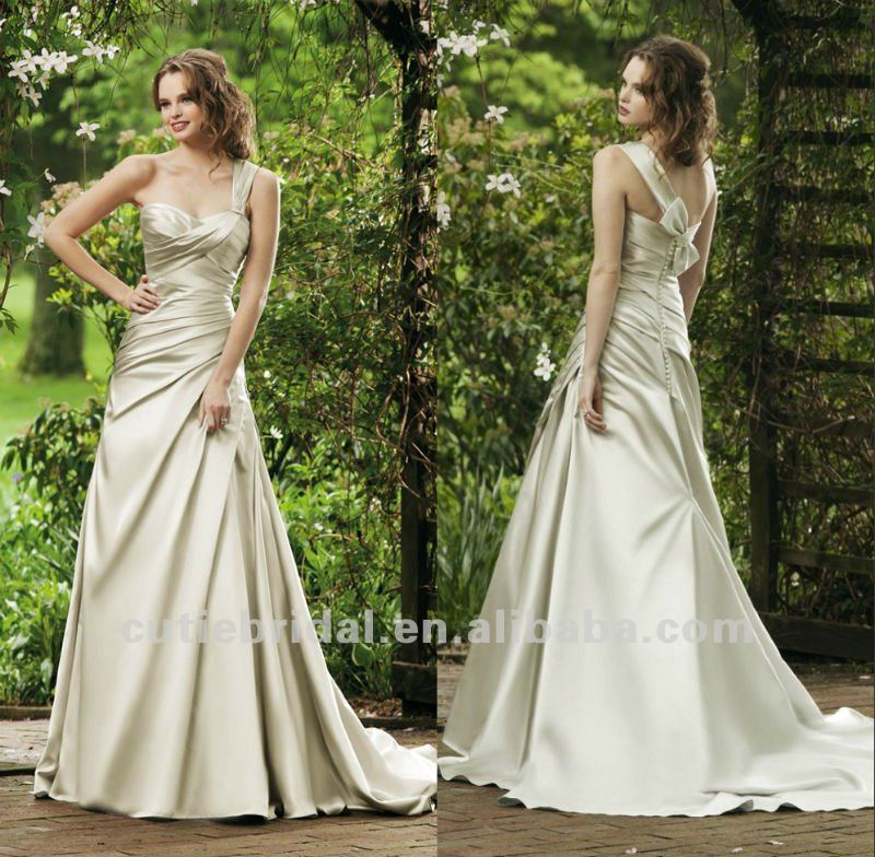 one shoulder wedding dress A line champagne bridal gown cheap wedding gown