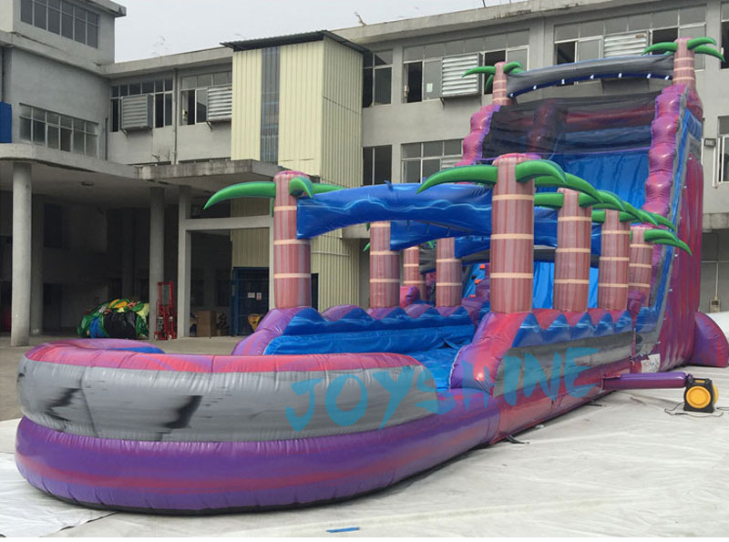 Extra Long Inflatable Slip and Waterslide Giant Commercial Purple Inflatable Tropical Paradise Water Slide for Kids and Adult