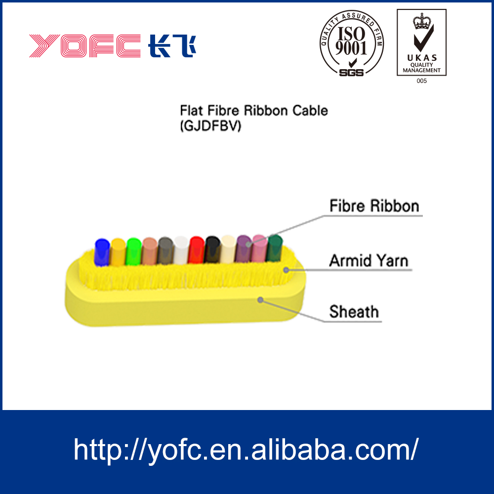 Indoor cable distribution and interconnect flat fiber ribbon cable GJDFBV