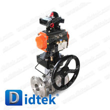 Didtek Cast Steel Floating Ball Valve Pneumatic Operate With Worm Gear