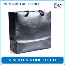 Sencai Cheap Price High End Black Color Recyclable Luxury Large Paper Shopping Bag With Custom Logo Printing