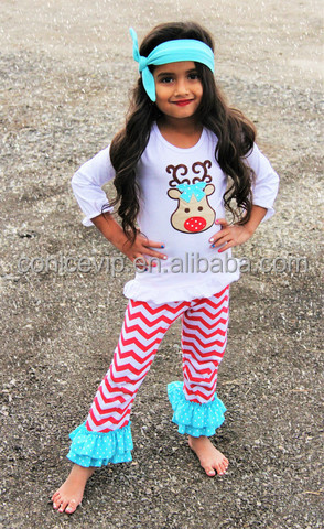 factory price wholesale christmas boutique clothing sets reindeer print tops for kids