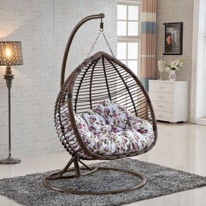 Outdoor Furniture Discount Metal Wicker Rattan Leisure hanging chair with stand