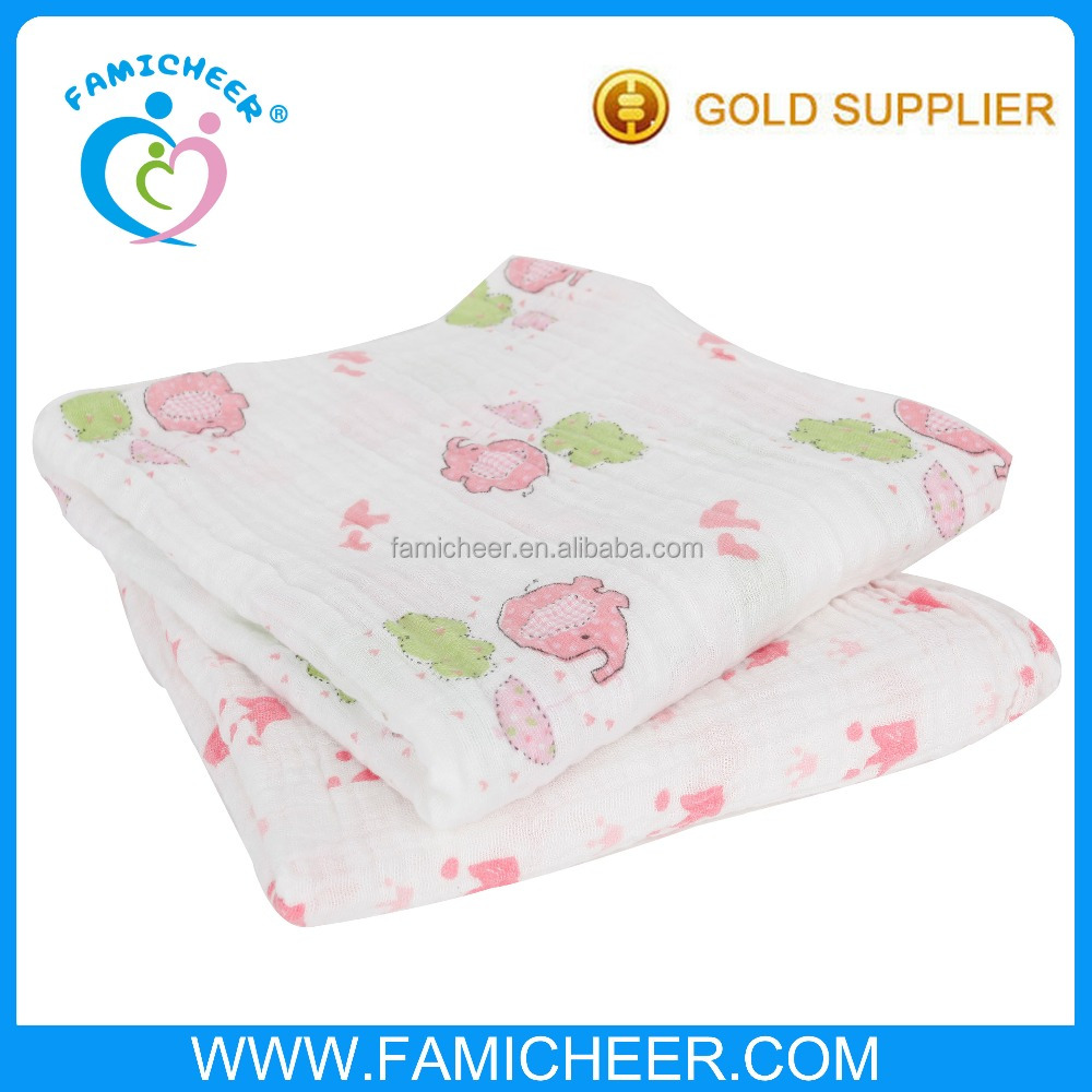 100% Organic Cotton Super Soft Infant Muslin Swaddle Blanket