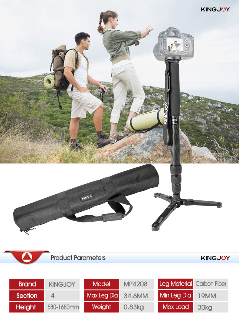 Kingjoy High Quality Bird Watching Carbon Fiber Professional Monopod for Action Camera