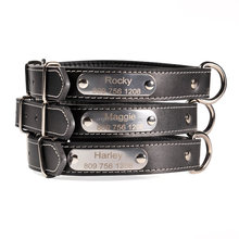 Personalized High Quality Leather Dog Collars with Custom Made Name