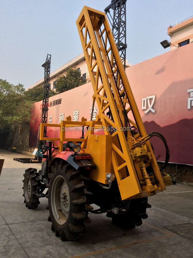 TW-100 tractor mounted hydraulic power head drilling rig