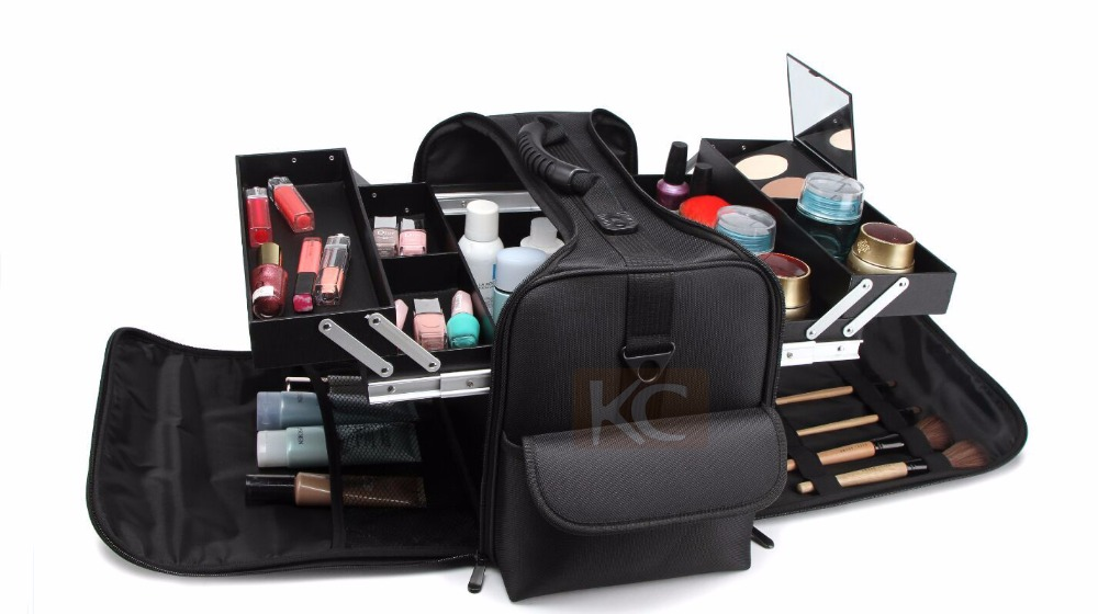 Soft fabric folding cosmetic bag with two-tiered tray box inside, made of Black nylon portable vanity bag