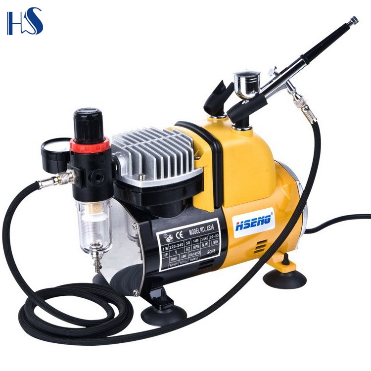 HSENG AS18CK Cake Decorating Kit Airbrush Air Compressor Color Food Bakery Bake Home Kitchen