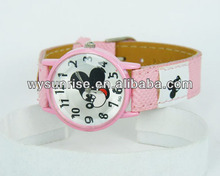 high quality japan movement leather ladies quartz mickey mouse watch