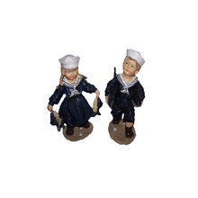 Boy & Girl Holding Fish In Sailor Suit Figurine