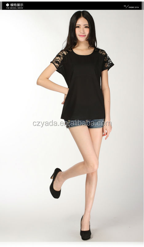 New Neck Design Ladies Short Sleeve Elegant Blouse With Black Lace