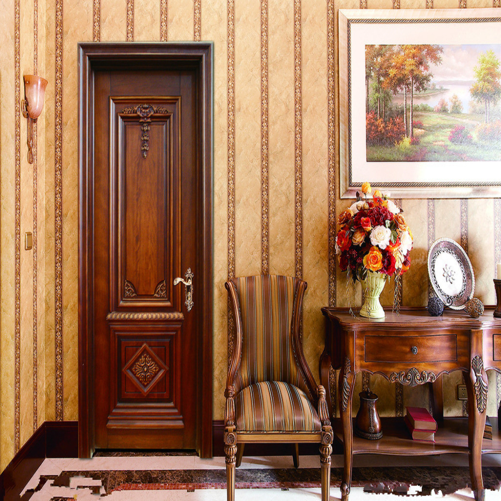 Foshan high class classical interior solid wood doors design