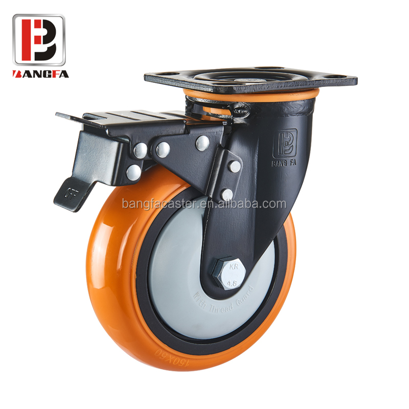 6inch 150mm Heavy Duty PU caster for industrial equipment
