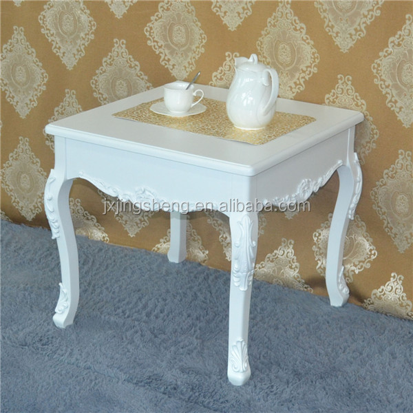 Hand painted bedroom furniture small size white wooden coffee table