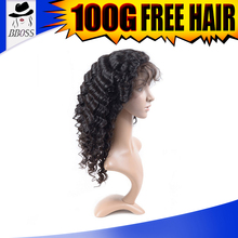 Excellent quality grey curly hair wigs, cheap deep wave full lace wig