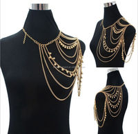 Gold Plated Women Punk Bells Body Single Shoulder Chain