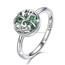Solitaire Simulated Emerald Promise Family Tree with Sterling Silver Finger Band Ring