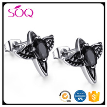 Cheap selling high quality stainless steel bird shaped black zircon jewelry new model earrings studs
