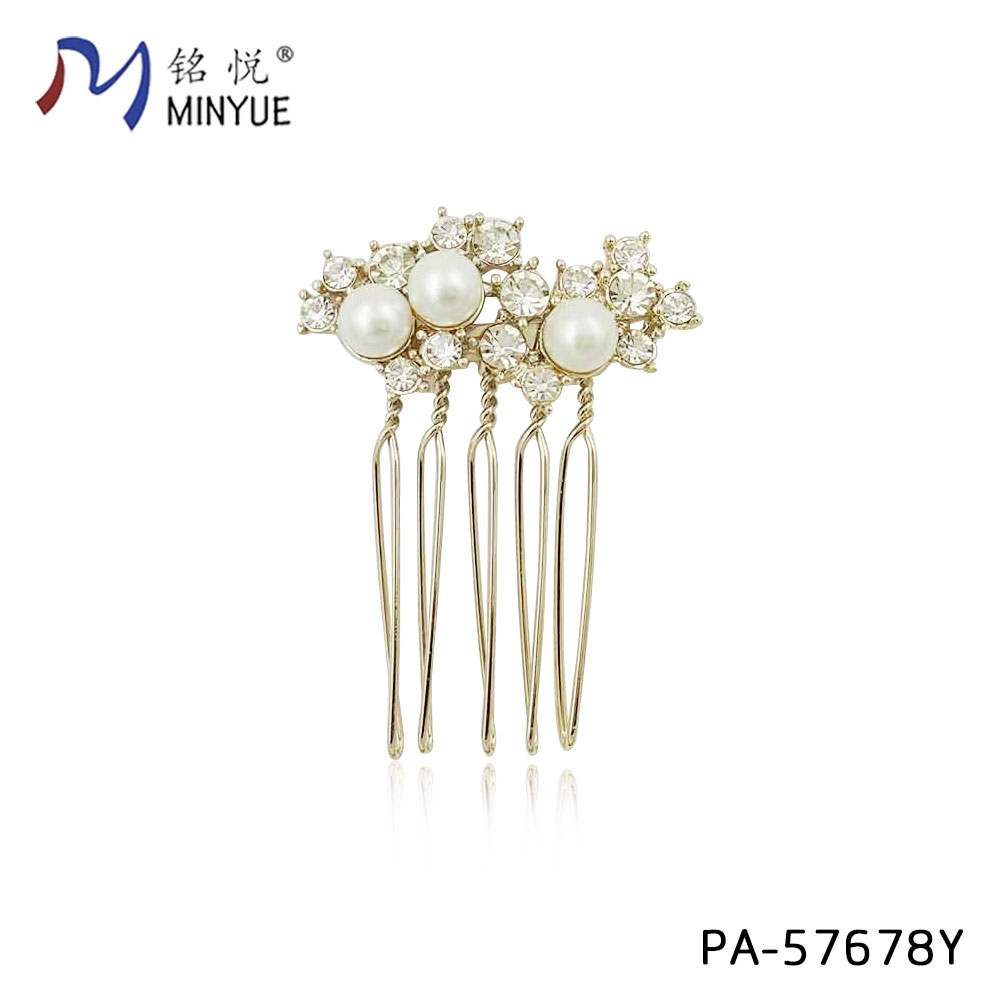 pearl with stone hair comb fashion custom make hair jewelry