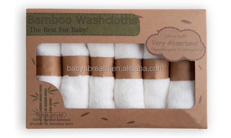 MSR032B Comfortable 6 Pack Baby Bamboo Fiber Washcloth