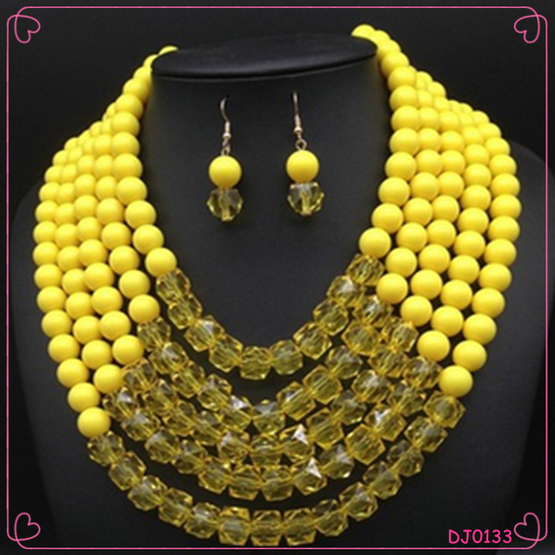 Fashion Women Acrylic African Beads Jewelry Set Multilayers Necklace Set
