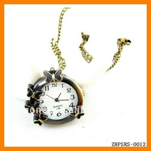 Nostalgia and Modern Blended Copper Sweater Chain Vintage Butterfly Pocket Watch Wholesale and Retail ZHPSRS-0012