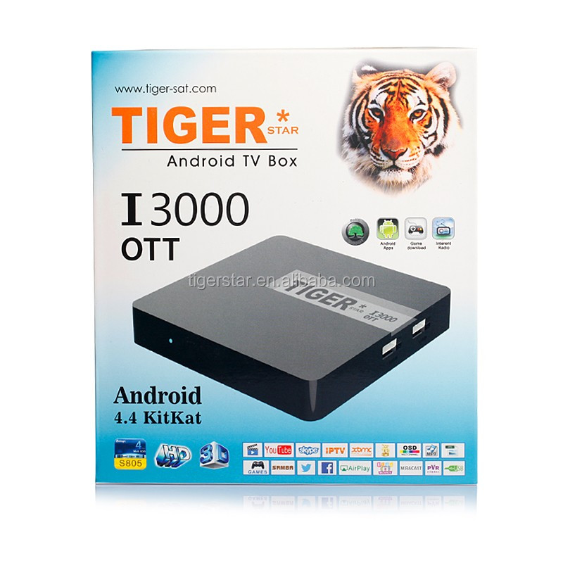 Tiger satellite receiver iptv I3000 OTT 3D support iptv server support install many APK android iptv box