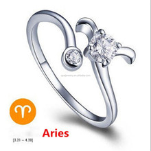 Fashion jewelry 925 sterling silver plated adjustable open ring , a flower shape white cz ring