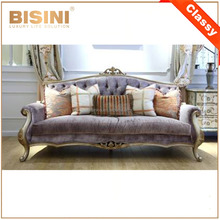 New Design French Elegant Purple Fabric Sofa In Living Room/ High Quality European Wooden Sofa Set/ Regal Living Room Furniture