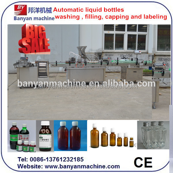 Hot Sell!!! bottle filling capping and labeling machine / liquid filling line/0086-18516303933