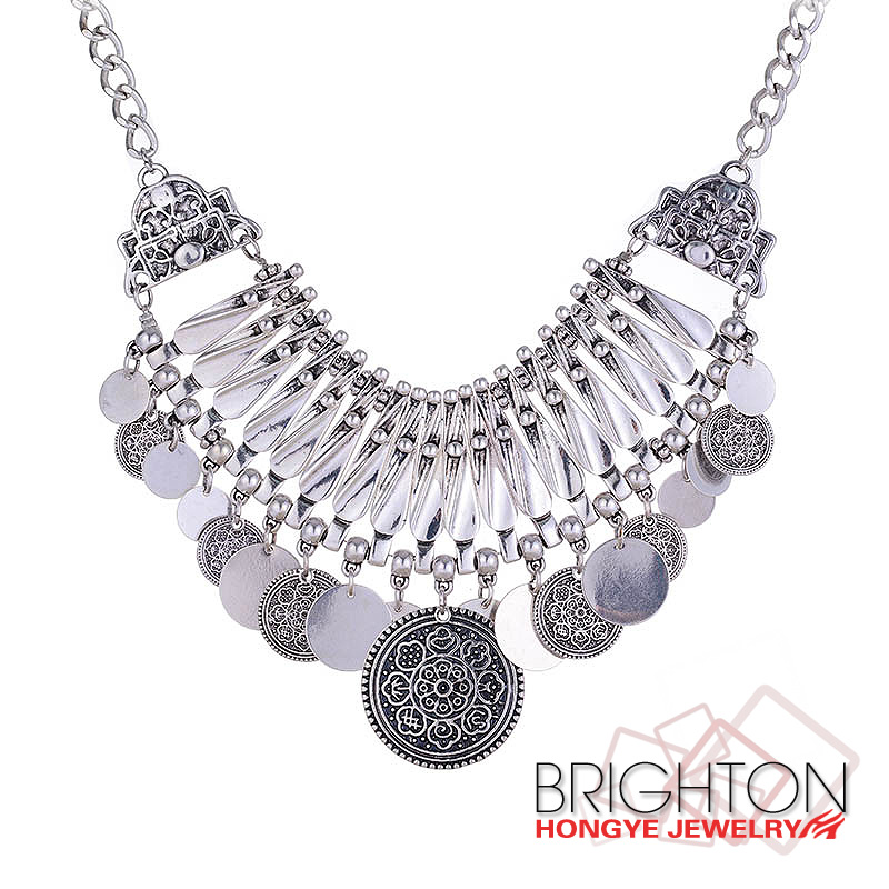 Euro-Pop Silver Coin Metal Chunky Necklace N6-9128-8200