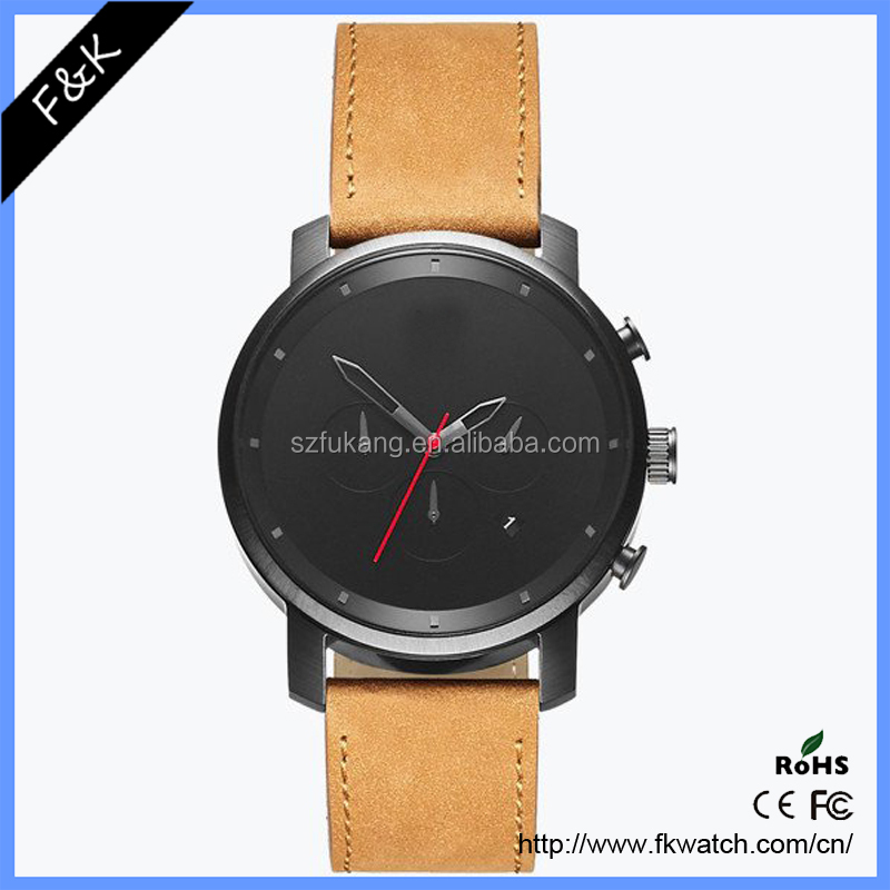 New Design Chronograph Watch personalized Leather Mens Watches Custom Dial Watch