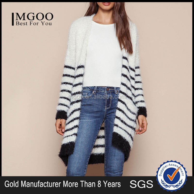 MGOO 2016 New Arrival Fuzzy White Striped Cardigan Women Knit Tops Cashmere Sweaters Women Clothing