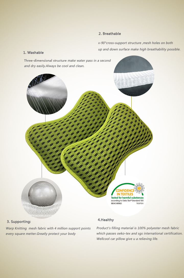 breathable 3d spacer mesh air car neck pillow