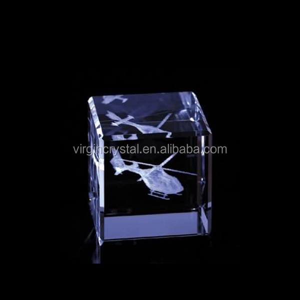 Airplane Photo Inside Crystal 3D Laser Engraving Blocks For Displaying