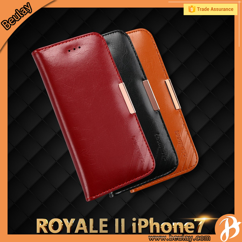 Taobao Best selling Genuine Leather Flip Cover Case For Iphone 7