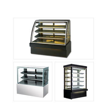 Marble-base pastry cooler curved glass cake showcase refrigerated display case of cakes