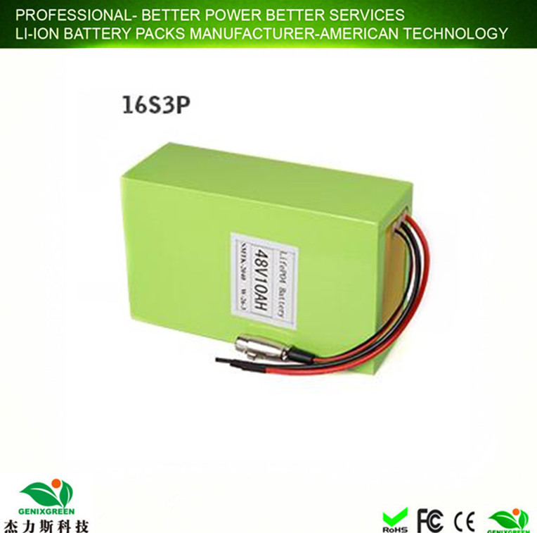 2017 GenixGreen low factory price 48v 50ah lifepo4 battery pack for 800w e-bike